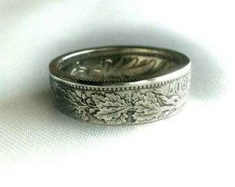 Germany Silver Coin Ring 1 Mark 1873-1916- Deutsches coin ring