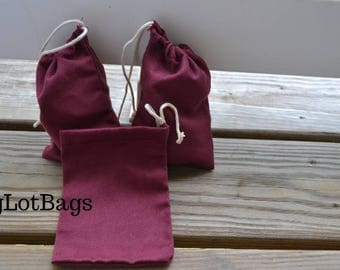 4' x 6' Plain Cotton Purple Drawstring Pouch with White Drawstring, High Quality Bags. Great for Wedding Favors, Jewelry Bags, and Stamping!