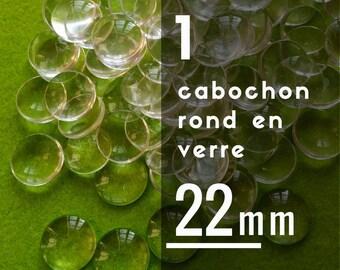 1 cabochon 22 mm round glass - 2.2 cm - glass