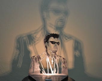 lamp Johnny Hallyday in metal, light and shadow