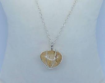 Citrine wire wrap necklace