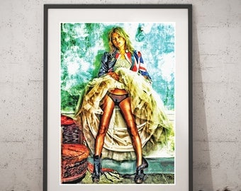Kate Moss Vintage portrait, Kate Moss Pop Art poster, Instant download Wall art, Printable Kate Moss Poster, Kate Moss Fashion Home Decor