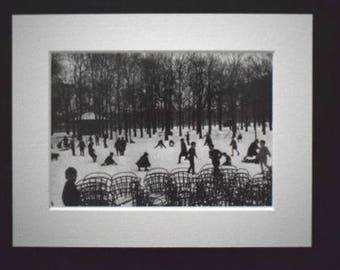 First Snow, Jardin de Luxembourg, Paris, 1955, by Eduoard Boubat.