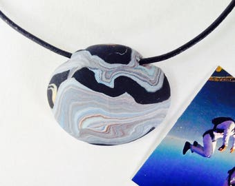 AIR 106 Nature Elements Necklace Unique Handmade Artistic Pendant Stone Adjustable Leather Cord Perfect Gift for Her