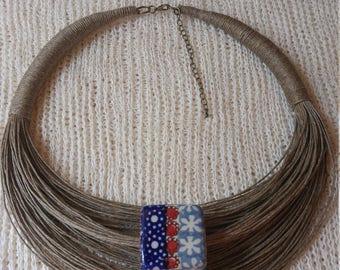 Necklace and ceramic jewelry, organic jewelry, linen, flax eco friendly, organic jewelry