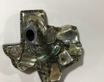 Fathers day gift, Rare Vintage Texas shaped penholder, office paperweight, abalone desk accessory, abalone paperweight,