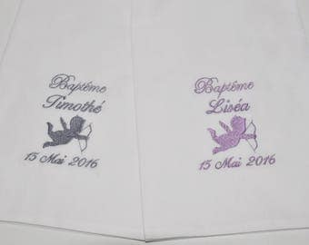 For twins: 2 scarves/shawls christening baby/child Angel custom embroidered silver boy or girl