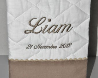 birth cover health taupe custom embroidered name