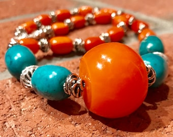 Moroccan Berber Tuareg tribal Tafinagh Tiznit North African beaded amber and turquoise with Orange quartzite beaded necklace.