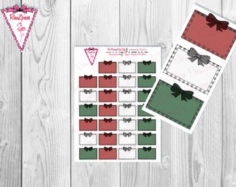 Printable Plaid Half Boxes - Functional Stickers w/Cut Line