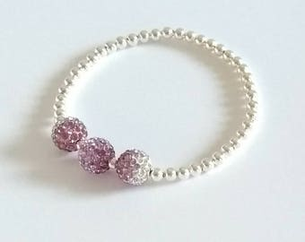 Lilac Crystal Bracelet, Silver Bracelet, Stretch Bracelet, Beaded Bracelet, Sparkly Bracelet, Stacking Bracelets, Crystal Balls, Bridesmaid