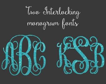 SVG Bundle, Interlocking Vine Monogram, Monogram Bundle SVG, Monogram fonts, svg fonts, svg files for silhouette,vine monogram font