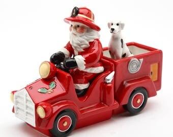 Santa Fire Truck Salt and Pepper Shaker and Box (Set of 3) (10263)