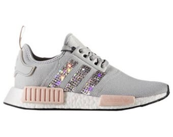 crystal Adidas NMD R1 Bling Shoes with Swarovski Crystals Women's Running Shoes Light Onix Vapour Pink