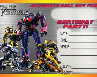 Transformers A6 Children's Birthday Party Invitations