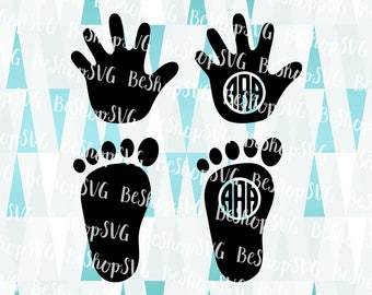 Baby Hands SVG, Baby feet SVG, Baby Hands and feet Svg, Baby Monogram Frame SVG, Baby Clipart, Instant download, Eps - Dxf - Png - Svg