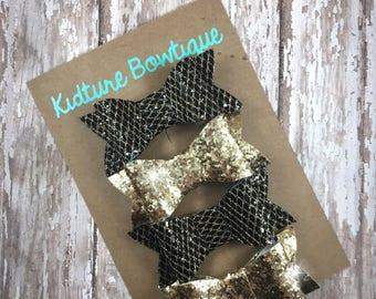 Pretty Hair Bows, Glitter Fabric Hair Bows, Set of 4, pigtail set, Bow Tie Hair Bow, Glitter Gold Hair Bow, black Sparkle Bows