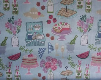 Lewis & Irene picnic in the park cakes 100% cotton fabric 44 inch / 110cm