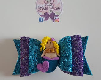 Purple and turquoise mermaid bow