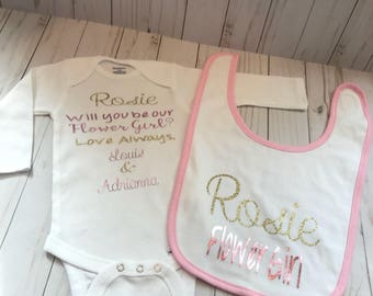 Flower girl onesie and bib proposal! Will you be my flowergirl gift for babygirl!