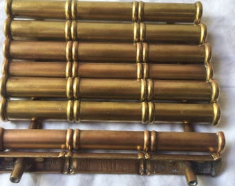 Brass Faux Bamboo Hollywood Regency Drawer Pulls (Set of 8)