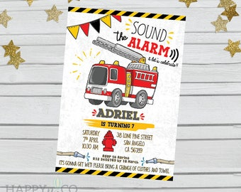 DIGITAL Firefighter Birthday Invitation, Firefighter Invitation, Firefighter Birthday Invite, Fire Truck, Firefighter Party, Fire Department