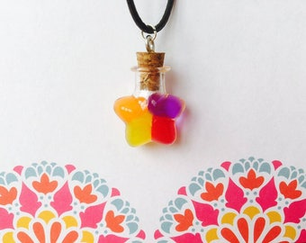 Star necklace, colorful necklace, necklace, glass star necklace