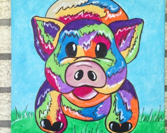 Colorful radical brother pig
