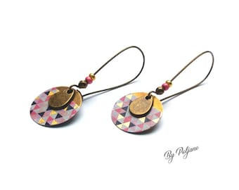 Earrings bronze sequin geometric rose gold plated