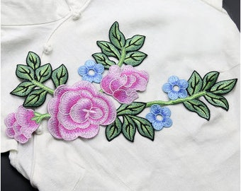 Pink and Blue Flower Branch Appliques Green Leaf Patches