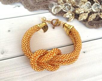 Gold bracelet  Elegant bracelet  Beadwork jewelry  Gift for her  Women bracelet  Gift for mom