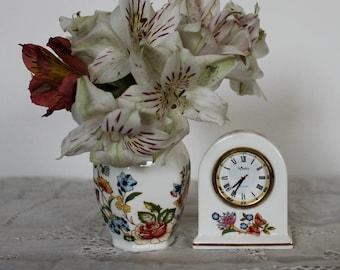 "Vintage AYNSLEY miniature clock and miniature vase, ""Cottage Garden"" design"