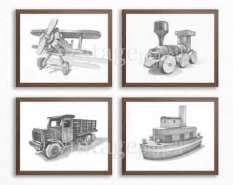 Planes Trains and Automobiles, Nursery Decor, Airplane, Train, Truck, Boys Room, Nursery Boy, Boy Nursery Art, Baby Boy, Wood Toys, Plane