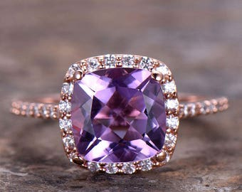 2ct Amethyst Engagement ring,rose gold or white gold plated,925 sterling silver thin band,topaz,aquamarine,morganite,garnet promise rings