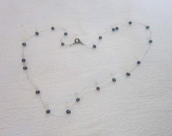 Vintage Petite Real Black Pearl Necklace