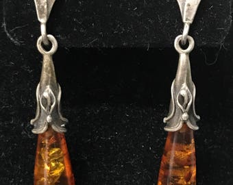 Vintage Handmade Sterling Silver Amber Teardrop Dangle Earrings