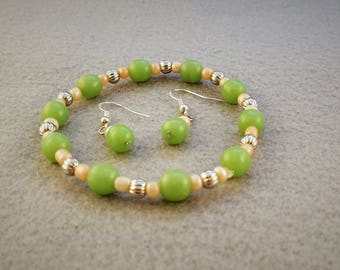 Pink and Green Jewelry - Pink and Silver Jewelry - Green and Silver Jewelry - Bracelet and Earring Set - Green Jewelry Set - Pink and Silver