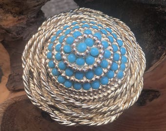 Gold and turquoise - vintage brooch - turquoise jewellery - gold brooch - blue brooch - gold turquoise - conical - twisted rope