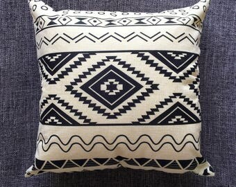 Black Aztec Geometric Cushion Cover, Pillow Cover, Decorative Cushion, Throw Pillow, 45cm