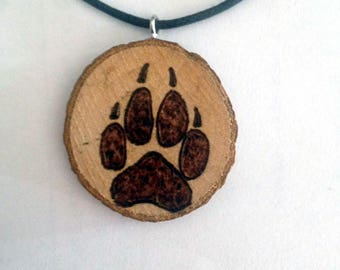Wolf Paw Dog wood necklace Wood Pyrography