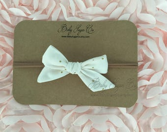 Gold Dot Fabric Hair Bow