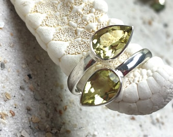 Sterling Silver Ring with Lemon Quartz Gemstone / ajustible size / natural untreated gemstone