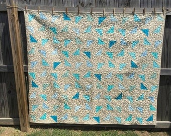"Handmade Reversible Cotton Lap Quilt ""Seaglass"" Shabby Chic"