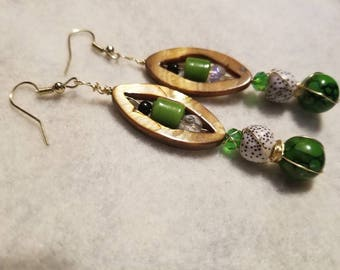 Green and Lime Green Beads with Goldtone Wire Dangle Drop Earrings