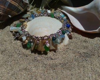 mermaid shell seaglass charm bracelet