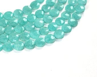 AAA+ quality gemstone 16 piece faceted DISK shape AMAZONITE 10 -- 13 mm approx.