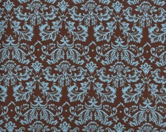 Turquoise on Brown Fabric - Petite Damask - Quilt Fabric - Brown Fabric -Turquoise Fabric- FREE US Shipping