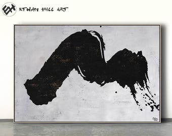 Large abstract painting canvas art, horizontal minimalist painting, minimal art, black and white, FREE shipping - Ethan Hill Art No.H31H