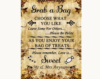 Autumn Vintage Grab A Bag Candy Buffet Cart Sweets Personalised Wedding Sign
