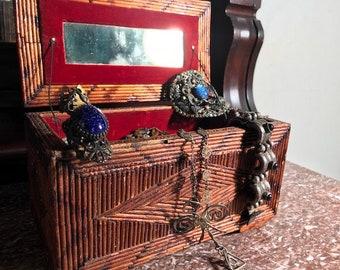 Folk Art / Tramp Art Jewelry Box Trinket Box